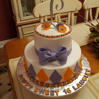 Lang's Sweet 16 Purple and orange accents, buttercream frosting..
