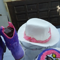 Hat And Boots hat made of white fondant as well as hat band-pink fondant. Boots were ricekrispie treats covered with fondant. This was my first attempt...