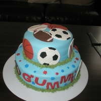 A Birthday Cake With Sport Balls A two tiered chocolate cake with chocolate buttercream. The cake is covered in buttercream and the sport balls are also made of fondant....
