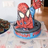 Spiderman Cake  A Spiderman cake I made for my younger son's fourth birthday. I got inspiration from so many wonderful cakes here on CC, especially...