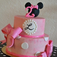 Minnie Strawberry cake with SMBC and fondant/gumpaste decals.