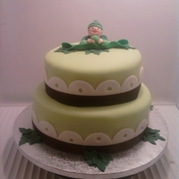 Sweet Pea I made this cake for a sweet pea themed baby shower. Baby and peas are fondant and the pea pod is gum paste. Thanks Cake Central for the...