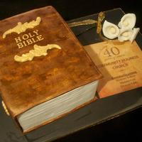 Bible Cake My first attempt at a book cake. The cover was handpainted to create an antique look. TFL.