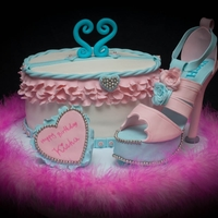 Purse And Platform Shoe Strawberry and cream cheese cake shaped into a purse and gumpaste platform shoe. RKT was used for platform. TFL.
