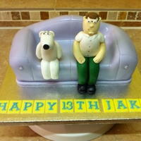 Family Guy Sofa Cake Family guy's Peter and Brian sitting on their couch!