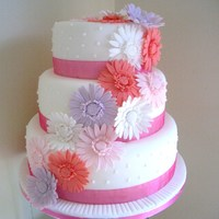 Gerbera Flowers Wedding Cake