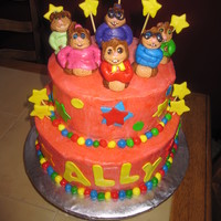 The Chipmunks And Chipettes I was so deathly ill while making this cake. lol BUT, a baker must go on! I handmade the figures. BC icing with MMF.