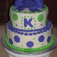 Dots! Birthday cake with the green and purple theme. TFL! =)