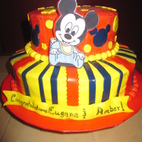 Baby Mickey For a baby shower with baby Mickey theme. Buttercream with MMF and edible image Mickey. TFL!