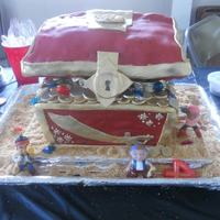Jake And The Neverland Pirates Cake Here is the entire finished cake! Looked great but the humidity was killing it that day. I made it match the treasure chest in the Jake and...
