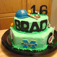 Sports, Michigan, 16Th Birthday my nephew was visiting from WA for his 16th birthday & wanted a cake that had all his favorite MI teams, plus his high school, Oak...