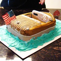 "Boat made this boat cake for my sister's Father-in-Law's 80th birthday; a ""replica"" of his old Chris Craft boat he used to..."