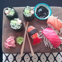 Sushi Sushi table made of vanilla cake with chocolate cheesecake filling, covered in chocolate mmf . Sushi and all accent pieces made w/ mmf and...