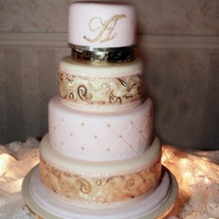 Pale Pink Wedding Cake Fondant Fake Top Tier Is Real White Almond Sour Cream Tfl Pale pink wedding cake - fondant - fake - top tier is real White Almond Sour Cream ! TFL!!!