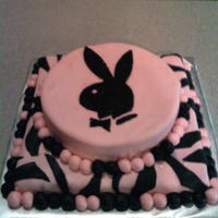 Pink W/ Black Accents Birthday Cake Banana pecan cake with cream cheese frosting covered with fondant. Zebra detailing and playboy bunny accent. Don't know if it show in...
