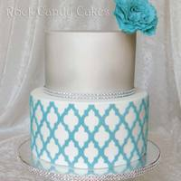 Silver And Turquoise Moroccan Cake Marvelous Molds Moroccan pattern. GP peony. Silver airbrushed top. tier.
