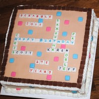 Scrabble Group Bday Cake  I come from a large family. There are 7 Jan/Feb. Bdays. This is the only way everyone's name could be on it. Tiles are made of fondant...