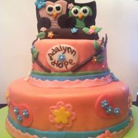 Owl Baby Shower Cake is covered in modeling chocolate. All details are modeling chocolate.