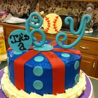 It's A Boy! Baseball Theme Red Velvet cake with Cream Cheese Icing, All accents are modeling chocolate