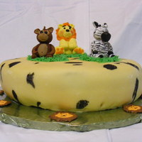 Child's Birthday Cake - Animal Theme carrot cake with cream cheese icing and fondant