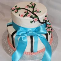 Cherry Blossoms And Ribbon Bridal Shower Cake This was a white cake with cream cheese filling (colored pink) with butter vanilla butter cream. This cake has satin ice blue stripes and...