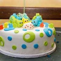 Baby Shower Client had Dinosaur with polka dots baby shower invitations wanted Mom, Dad & sister awaiting for baby Dino egg to hatch