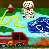 Fire Truck Baby Boy Shower Buttercream icing / fondant fire truck, dalmation, fire hydrant and piping gel pool of water