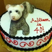 "Allison Ferret Is 40! Sculpted Ferret on top of a 12"" round"