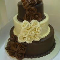 Choc Marzipan Roses dark chocolate cake and chocolate cake with vanilla frosting. decorated in chocolate marzipan roses