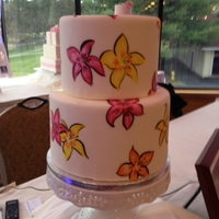 Fondant Covered Cake With Hand Painted Flowers Fondant covered cake with hand painted flowers
