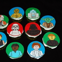 Lego Star Wars Cupcakes Lego Star Wars cupcakes for my husband's birthday. All shapes hand-cut and painted with edible paint.