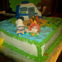 Happy 25Th Anniversary - Camping Lovers This is a 25th wedding anniversary cake I was asked to make for a couple who love taking their camper to the lake and camping as much as...