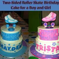 Two-Sided Roller Skating Birthday Cake For A Brother And A Sister A co-worker of my husband wanted a roller skating-themed cake for her son and daughter's joint birthday party. This is what I created...