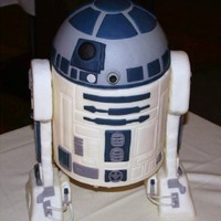 R2D2 Cake This was an R2D2 cake made for a family member's groom's cake. It is a dummy cake because he wanted to be able to save it for...
