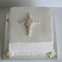 Baptism Cake Buttercream with fondant accents