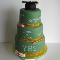 "Chalkboard Graduation Cake 7"", 9"", 11"". covered in fondant with fondant accents. The cap is cake from a 4"" ball pan"