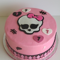 """monster High"" Themed Birthday Cake covered in buttercream with fondant accents"