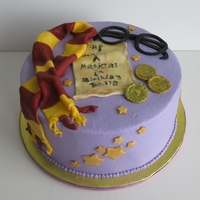 """harry Potter"" Birthday Cake Covered in Vanilla buttercream with fondant accents"