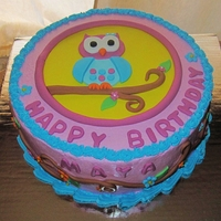 Owl Birthday Cake Cake for a little girl's 2nd birthday. Mom sent me the design of the decorations and wanted the cake to be the same. She was very...