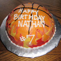 Basketball Cake All Chocolate WASC Cake, made for a boy who loves basketball and chocolate! Vanilla BC and fondant flames. TFL