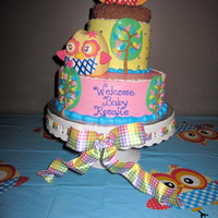 Owl Baby Shower Cake Vanilla WASC with strawberries 'n' creme filling! Yum Yum!! Vanilla BC, owls and nest are RKT covered in fondant. Design done to...