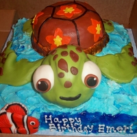 Finding Nemo Squirt Birthday Cake I made this cake for a little boy that loves Squirt from Finding Nemo. It is all cake except for the turtle head which is rice crispie...