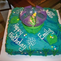 Tinkerbell Lily Pad Cake This is a cake I made for my niece, she loves tinkerbell and wanted the cake topper.It is all in buttercream