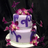 Purple Orchid And Butterfly Cake