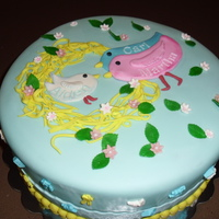 Baby Shower Baby shower cake with nesting birds