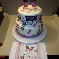 Butterfly Sprinkle Cake   Cake made to look like baby's crib bedding shown in picture below cake. Cake made with fondant and gumpaste.