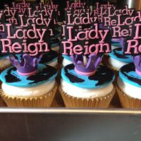 Lady Reign Cupcakes Made these for my niece's cheerleading team that was going to Worlds. Gumpaste and fondant decorations.