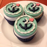 Anchor Bridal Shower Cupcakes   Cupcake toppers made out of fondant.
