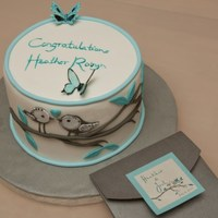 Bridal Shower Birds Theme Custom designed bridal shower cake to match the wedding invitation. All hand-cut fondant, no stencils - just eye-balled everything!...