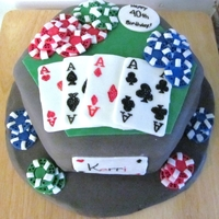 Poker Cake Poker cake I made for my sister's 40th. Chips and cards are made of store bought fondant. Homemade Chocolate MMF covering the cake.
